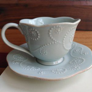 Lenox Cup and Saucer French Perle Ice Blue